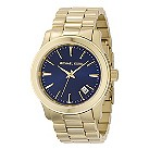 Michael Kors men's gold-plated navy dial bracelet watch - Product number 9384685