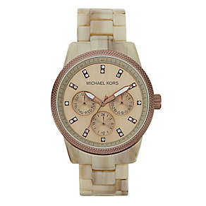 Michael Kors ladies' sand coloured dial stone set watch - Product number 9384804