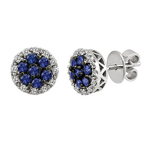 Le Vian 14ct gold diamond & ceylon sapphire cluster earrings - Product number 9392092