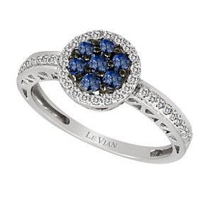 Le Vian 14ct gold diamond & ceylon sapphire cluster ring - Product number 9392386