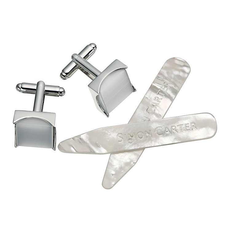 Simon Carter men's mother of pearl cufflinks & stiffener set - Product number 9407898
