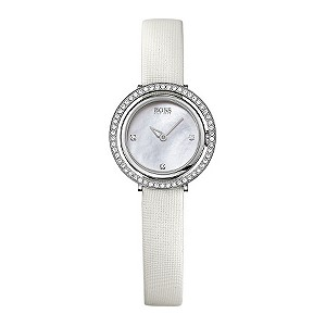 Hugo Boss ladies' mother of pearl white strap watch - Product number 9410740