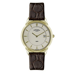 Rotary men's gold plated brown strap watch - Product number 9411704