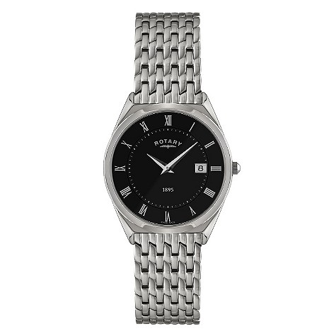 Rotary men's stainless steel black dial bracelet watch