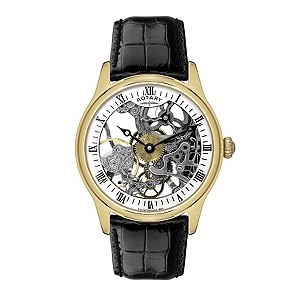 Rotary men's black strap skeleton dial watch - Product number 9412980