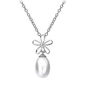 Hot Diamonds long silver diamond set flower pearl pendant - Product number 9413162