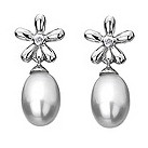 Hot Diamonds silver flower drop pearl & diamond earrings - Product number 9413189