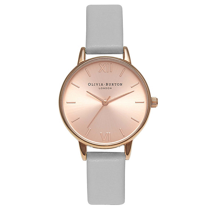 Olivia Burton Midi Dial Ladies' Rose Gold Plated Grey Watch - Product number 9418024