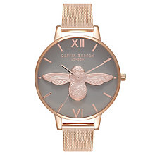 Olivia Burton 3D Bee Ladies' Grey Mesh Bracelet Watch - Product number 9418199