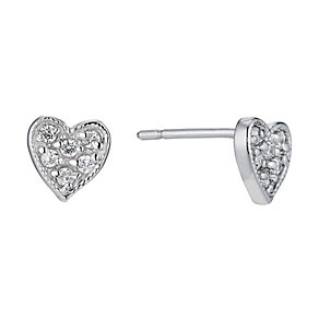 Silver cubic zirconia heart studs - Product number 9426825