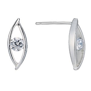 Silver & cubic zirconia marquise earrings - Product number 9427007