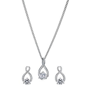 Silver & cubic zirconia infinity pendant & earrings set - Product number 9427767