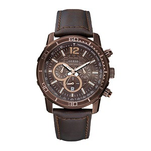 Guess Men's Brickhouse Brown Strap Watch