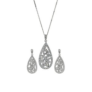 9ct white gold 1/2 carat diamond earrings & pendant set - Product number 9431993