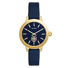 Tory Burch Collins Ladies' Yellow Gold Tone Blue Strap Watch - Product number 9432884