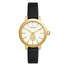 Tory Burch Collins Ladies' Gold Tone Black Strap Watch - Product number 9432892
