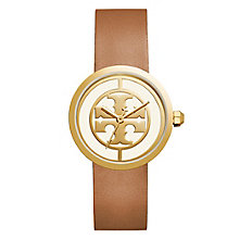 Tory Burch Reva Ladies' Yellow Gold Tone Tan Strap Watch - Product number 9433287