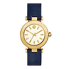 Tory Burch Classic T Yellow Gold Tone Navy Strap Watch - Product number 9433457