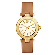 Tory Burch Classic T Yellow Gold Tone Tan Strap Watch - Product number 9433465