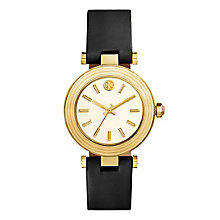 Tory Burch Classic T Ladies' Yellow Gold Tone Black Watch - Product number 9433473