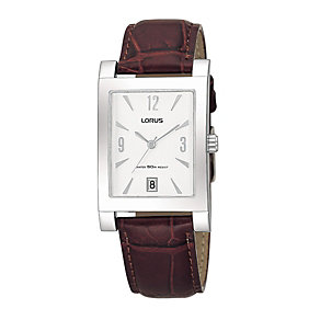Lorus Men's Brown Mock Croc Strap Watch - Product number 9438653