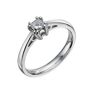 18ct white gold 1/3 ct princess cut diamond solitaire ring - Product number 9440968
