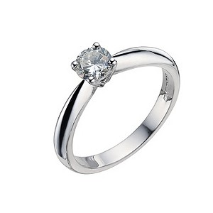 18ct white gold half carat claw set diamond solitaire ring - Product number 9441492