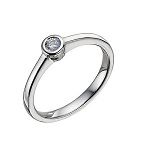 9ct white gold 0.12 carat rubover diamond solitaire ring - Product number 9442154