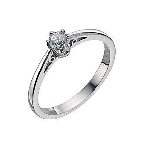 9ct white gold 19 point claw set diamond solitaire ring - Product number 9442286