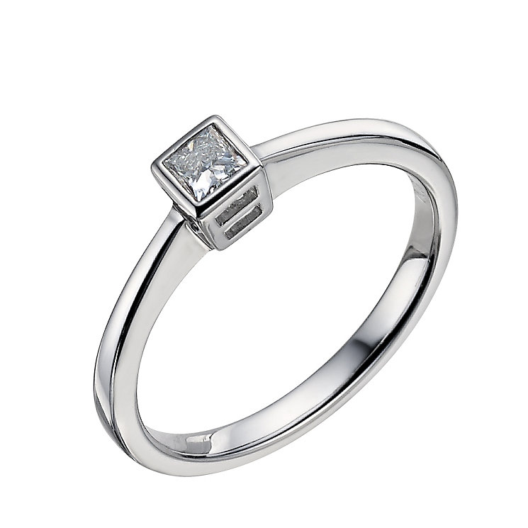 9ct white gold 0.12 carat diamond solitaire ring - Product number 9442405
