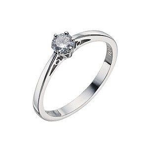 9ct white gold quarter carat claw set diamond solitaire ring - Product number 9442537
