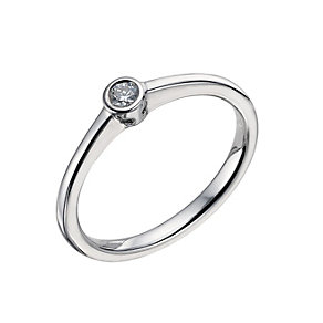 9ct white gold rubover diamond solitaire ring - Product number 9442677