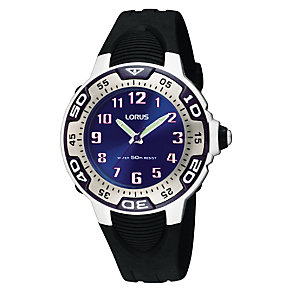 Lorus Boys Blue Dial Black Silicone Strap Watch - Product number 9443983