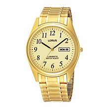 Lorus Lumibrite Men's Gold-Plated Expander Bracelet Watch - Product number 9444297