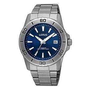 Lorus Men's Blue Dial Titanium Bracelet Watch - Product number 9444300