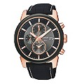 Lorus Men's Black & Rose Gold Plated Chronograph Watch - Product number 9444521