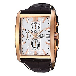Lorus Men's Rectangular Chronograph Dial Leather Watch - Product number 9444556