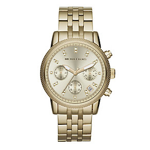 Michael Kors ladies' gold-plated stone set bracelet watch - Product number 9445927