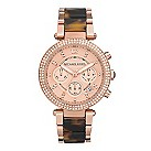 Michael Kors ladies' rose gold-plated tortoiseshell watch - Product number 9445978