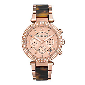 Michael Kors ladies' rose gold-plated tortoise effect watch - Product number 9445978