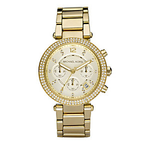 Michael Kors ladies' gold-plated stone set bracelet watch - Product number 9445986