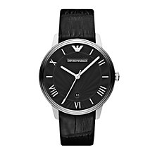 Emporio Armani Men's Black Dial Black Leather Strap Watch - Product number 9446079