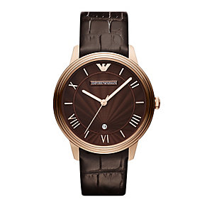 Emporio Armani men's rose gold plated brown strap watch - Product number 9446087