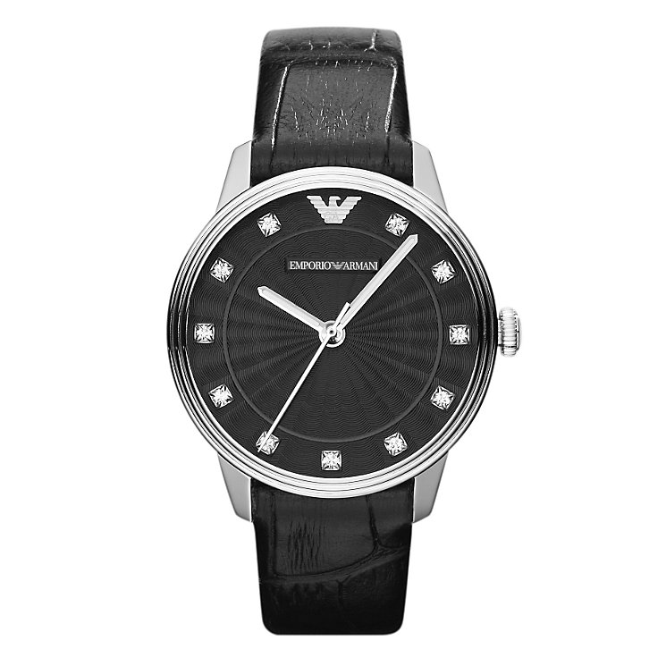 Emporio Armani ladies' stone set black dial strap watch - Product number 9446109