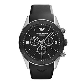 Emporio Armani Titanium men's chronograph black strap watch - Product number 9446184
