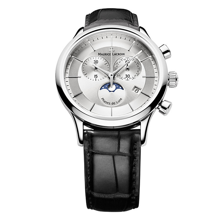 Maurice Lacroix Men's Black Leather Strap Watch - Product number 9446796