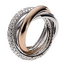 Emporio Armani ladies' two colour pave ring - size M1/2 - Product number 9446931