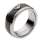 Emporio Armani men's black eagle logo ring - size V - Product number 9447067