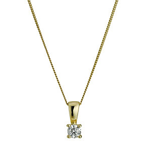 9ct yellow gold 0.15 point diamond pendant - Product number 9447180