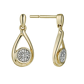 9ct yellow gold & diamond drop earrings - Product number 9447229